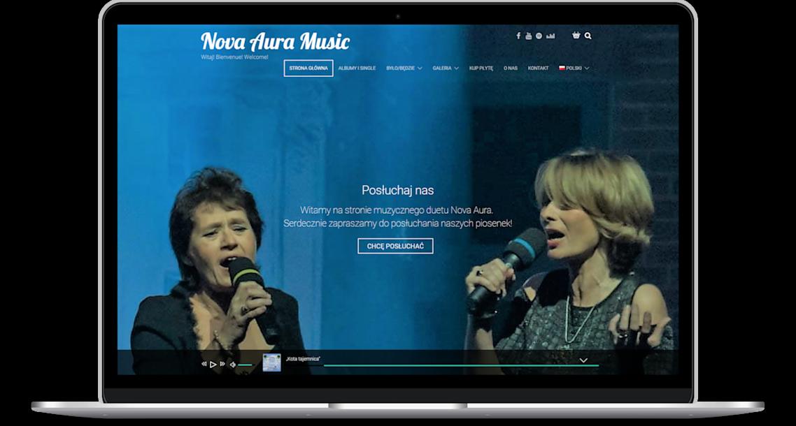 Wykonanie strony www - widok na laptopie