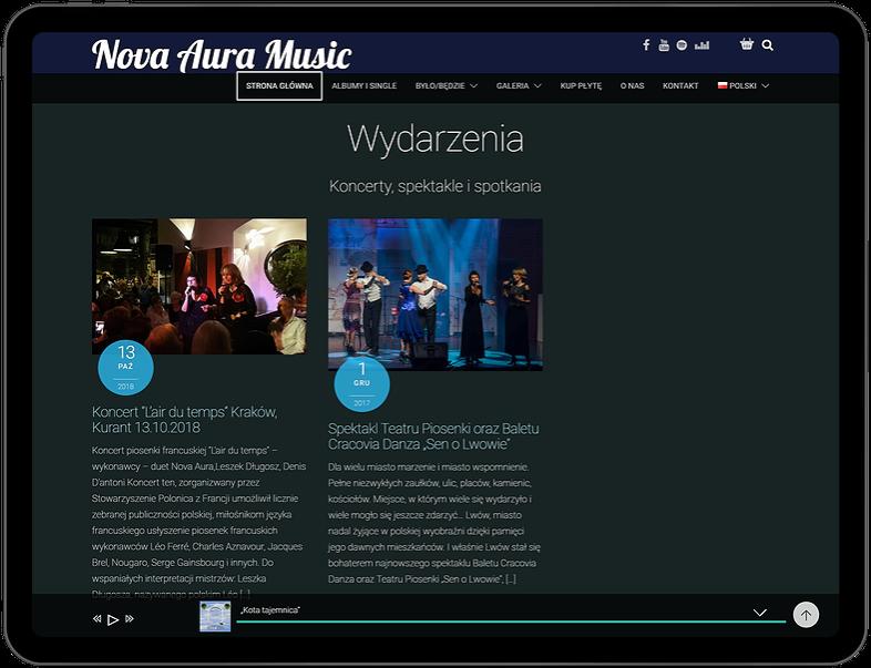 widok strony www na tablecie