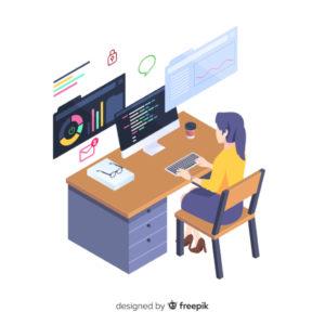 Asystentka pracująca przy komputerze z wieloma programami, obrazek