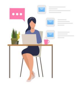 Asystentka pracująca przy komputerze